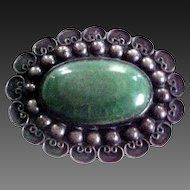 Fabulous Old Mexican Sterling Silver & Jadeite Pin-Great Detail -Large