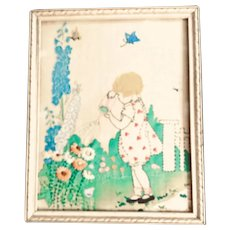 Vintage Needlework Little Girl watering Flowers Picture