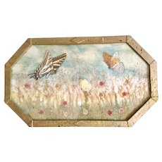 Victorian Butterflies and Dried Flowers Picture or Tray