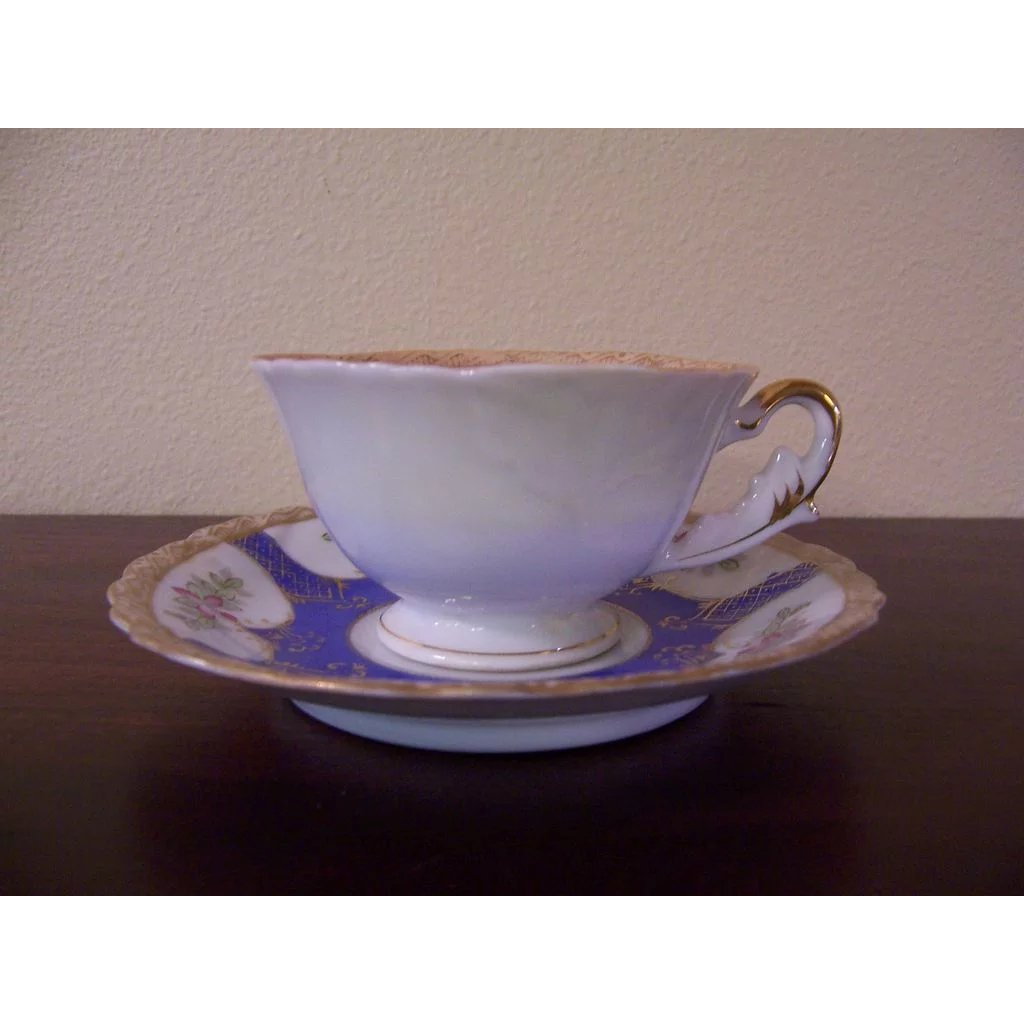 Vintage 1940s Raspberry Design Occupied Japan Footed Demi Cup and Saucer Scalloped Edge UCAGCO China Gold Trim