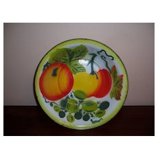 Large Enamel Ware Bowl with Peach Design
