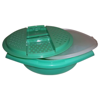 3-PC Vintage Jadeite Green Tupperware Bowl, Slicer / Shredder & Lid