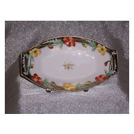 Vibrantly Colored Hand Painted Nippon Floral Celery Dish