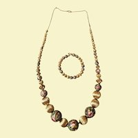 Chunky Colorful Cloisonne Necklace and Bracelet Set