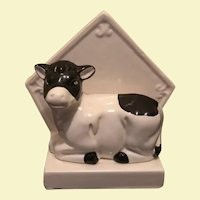 Vintage Ceramic Black & White Cow Napkin Holder