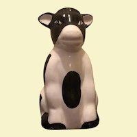 Vintage Ceramic Black & White Cow with Bell Clapper