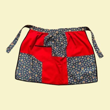 Handmade Floral Print/Solid Patterned Apron
