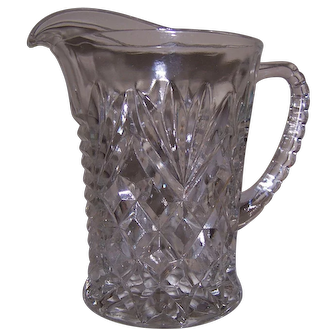 Pressed Glass Cream Pitcher, Fan and Diamond Pattern