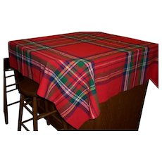 """Bright Red Plaid Rectangle Tablecloth, 43"""" X 55"""""""