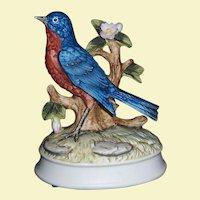 Vintage Gorham Music Box Vivid-Color, Porcelain Bisque Bluebird