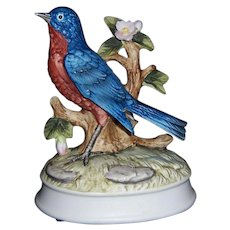 Vintage Gorham Music Box Vivid-Color, Porcelain Bisque Bluebird
