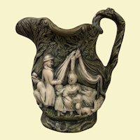 Vintage Ceramic Glaze Pitcher, Forest Camp Scene