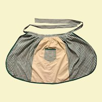Gingham Green and Yellow Half Apron