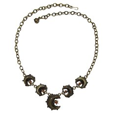 Antiqued Gold-tone Necklace with Brown Moonglow Crescents