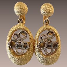 Hobe' Mixed Metals Modernist Dangling Earrings
