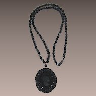 Long Necklace with Large Intricate Black Beaded Cameo Locket