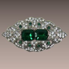 Hard-to-Find Signed Paul Sargent Green and Clear Rhinestone Brooch