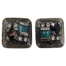 Unsigned Selro or Selini Imitation Turquoise Earrings