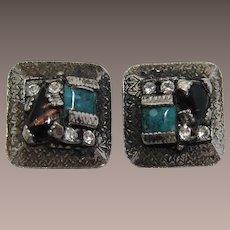 Unsigned Selro or Selini Imitation Turquoise Earrings