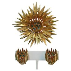 Large Gold-tone Spiky Flower Pin and Earring Set with Green Rhinestones