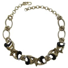 Gold-tone Necklace with Unusual Comma-shaped Black Rhinestones
