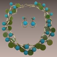 Bakelite Disc and Turquoise Thermoplastic Ball Double Chain Necklace and Dangling Earrings