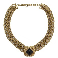 Monet Heavy Gold-tone Link Necklace with Black Cabochon