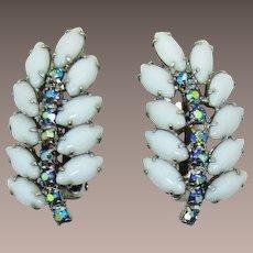 Bright White and Blue AB Rhinestone Earrings