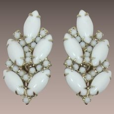 Bright White Navette Cabochon Earrings