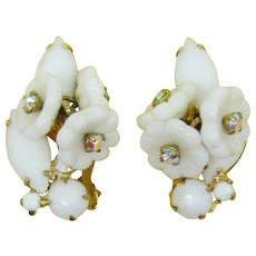 DeLizza and Elster Juliana White Glass Flower Earrings