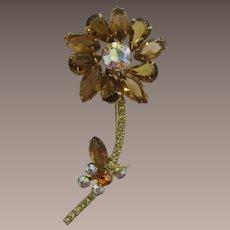D&E / Juliana Smoky Topaz Rhinestone Flower Pin