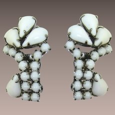 Bright Opaque White Pear-Shaped Rhinestone Earrings