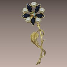 Bright Gold-tone Flower Brooch with Deep Blue Navette Petals