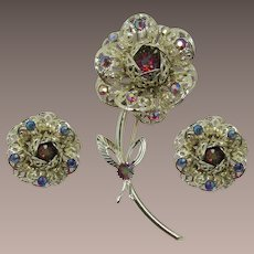 Sarah Coventry Fashion Flower Pin and Earrings Set