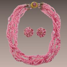 Cotton Candy Pink Beaded Necklace and Earring Set