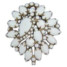 Bright White Opaque Rhinestone Domed Brooch