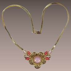 Trifari Gold-tone and Pink Cabochon Flower Necklace
