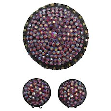 Red Aurora Borealis Rhinestone High-Domed Pin and Earring Set
