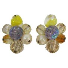 Hattie Carnegie Yellow and AB Beaded Earrings