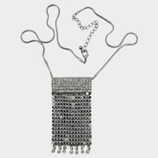 Silver-tone Mesh and Sparkling Clear Rhinestone Necklace