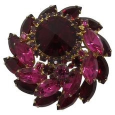 D&E / Juliana Ruby-red Rivoli and Pink Tiered Brooch