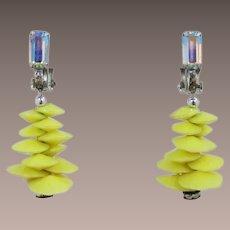 Lewis Segal Bright Yellow and Aurora Borealis Dangling Earrings