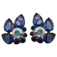 D&E / Juliana Large Blue Pear-Shaped Rhinestone Earrings - Book Piece