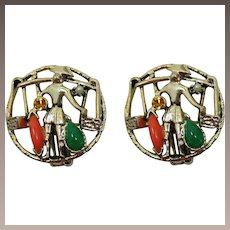 Selini Gold-tone Earrings with Asian Man Carrying Baskets