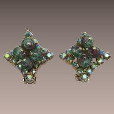 Green and Purple Bead and AB Rhinestone Earrings