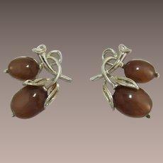 Lisner Brown Moonglow Acorn Earrings