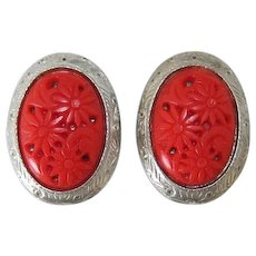 Selro or Selini Cherry Red Thermoplastic Earrings