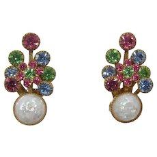 Bright Pastel Rhinestone and White Confetti Earrings
