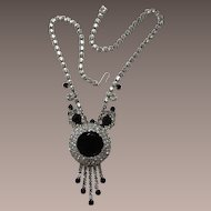 D&E / Juliana Large Black Framed Rhinestone Necklace with Dangles