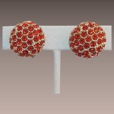 Bright Orange Rhinestone and Gold-tone Domed Earrings